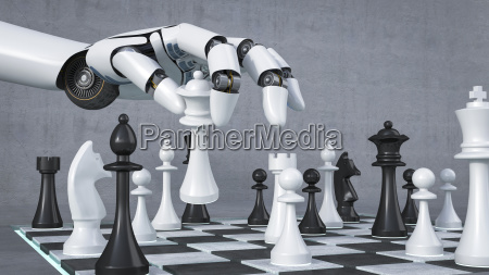 robot hand playing chess 3d rendering