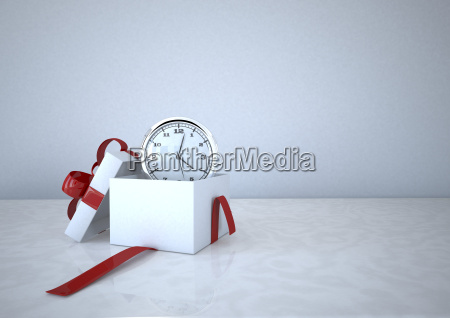 3d illustration opened gift carton with