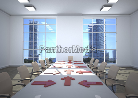 3d illustration business room arrows on