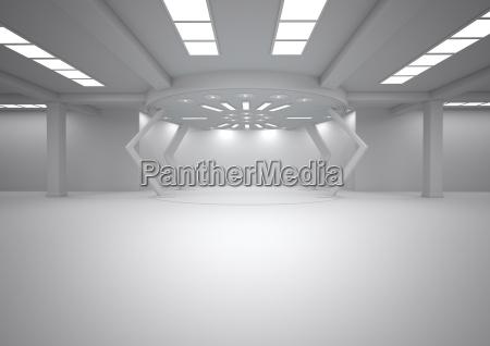 empty futuristic room 3d rendering
