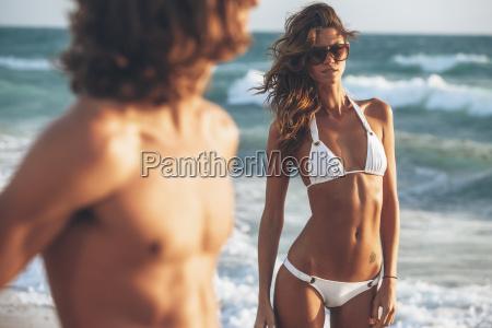 beautiful young woman in bikini on