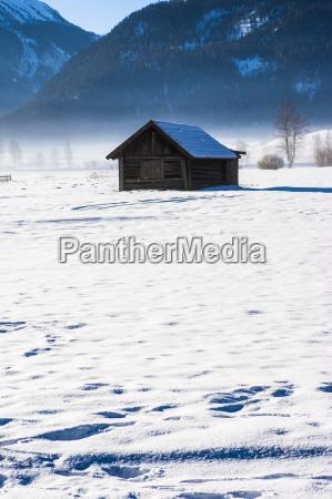 austria tyrol lermoos barn in snow