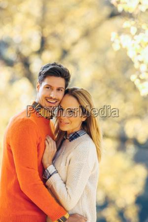 happy couple enjoying autumn in a