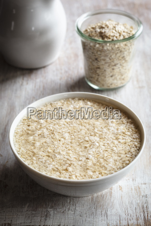 bowl of soaked oat flakes