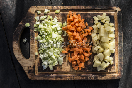 rows of diced carrot potato and