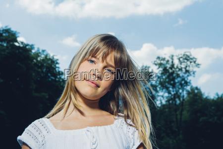 portrait of blond teenage girl in