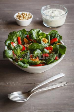 bowl of mixed salad silken tofu