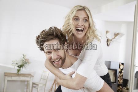 portrait of happy couple having fun