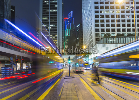 china central hong kong light trails