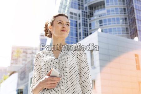 poland warsaw portrait of waiting businesswoman