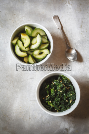 cucumber and spinach salad in bowl