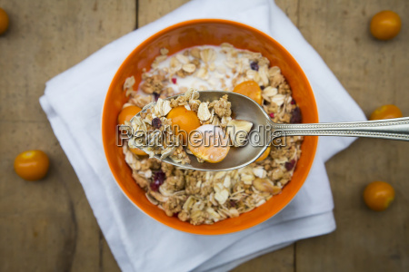 bowl with cereals and physalis