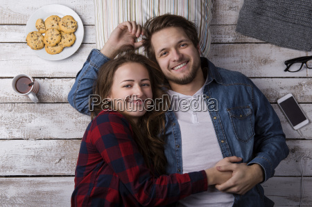 portrait of happy young couple relaxing