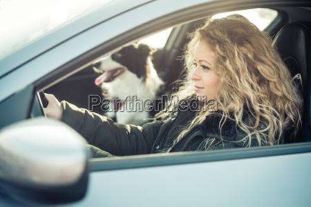 woman driving car dog sitting on