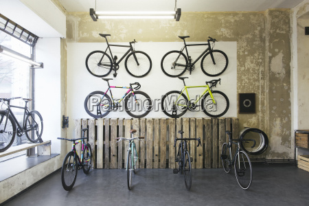 assortment of racing cycles in a