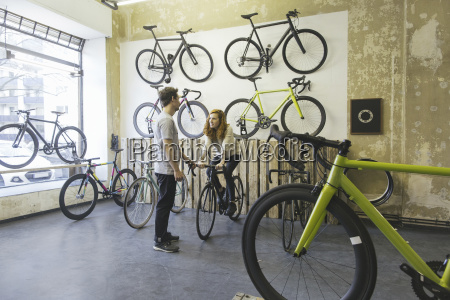 client testing racing cycle in a