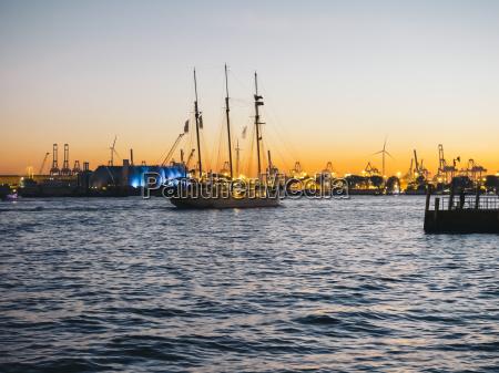 germany hamburg harbour sailing ship in
