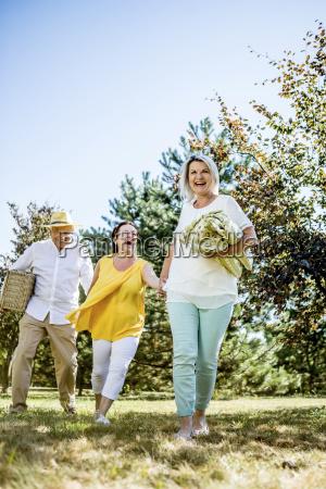 happy elderly friends on a meadow