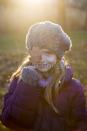 portrait of smiling girl at evening