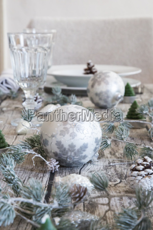 christmas decoration on laid table