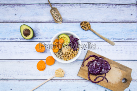 bowl of quinoa avocado roasted chick