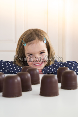 portrait of happy girl with chocolate
