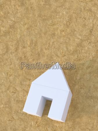 3d illustration white house on sand