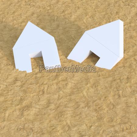 3d illustration white house sand