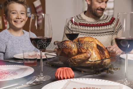 turkey on table during familys christmas