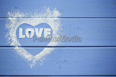 heart shape and the word love
