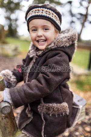 portrait of happy little girl on