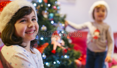 portrait of happy girl at christmas