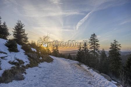 fahrt reisen winter nationalpark sonnenuntergang abend