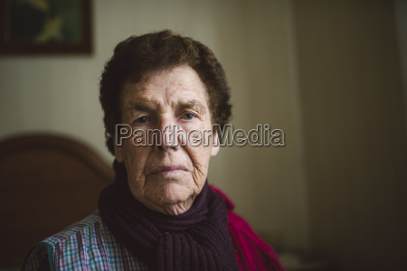 portrait of serious looking senior woman