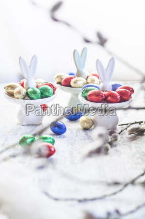 easter bunny plates with chocolate eggs