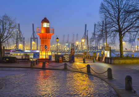 germany hamburg harbor oevelgoenne lighthouse in