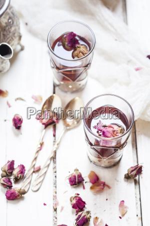 two glasses of rose blossom tea