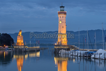 germany lindau harbour entrance with lighthouse