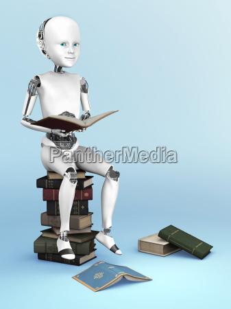 3d rendering von einem roboter kind