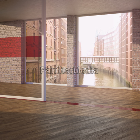 empty room with parquet in a