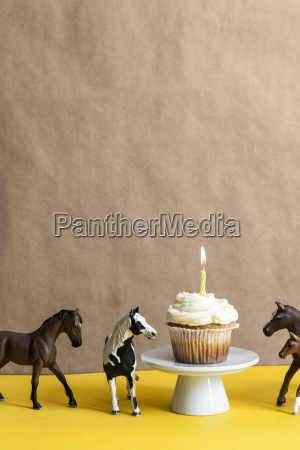 cup cake with lighted candle on