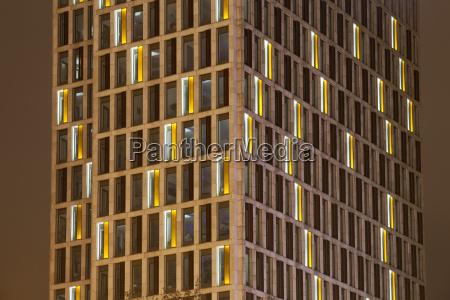 germany dortmund modern office building illuminated