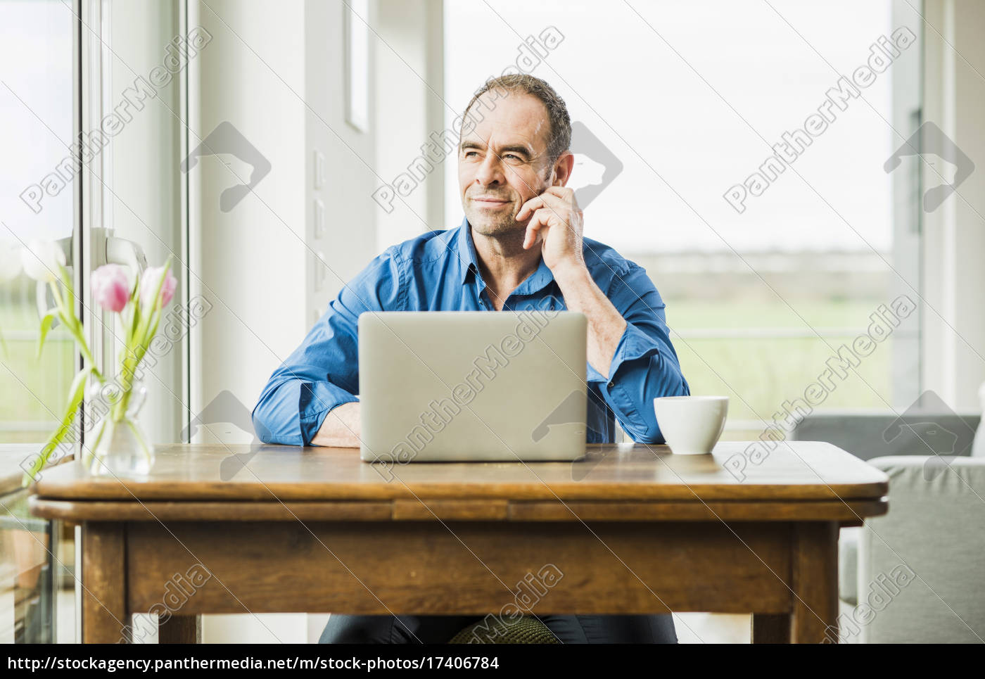 businessman, at, home, with, laptop, at - 17406784