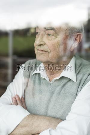 portrait of pensive senior man with