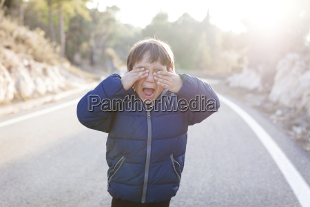 spain siurana screaming little boy standing