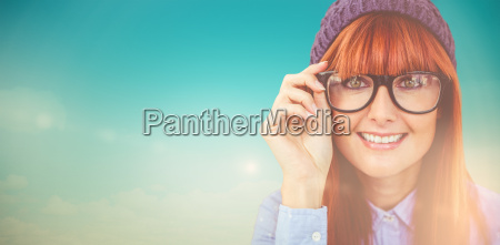 composite image of smiling hipster woman