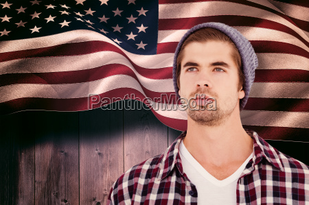 composite image of confident hipster looking