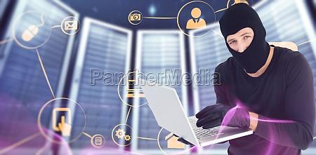 composite image of burglar standing holding