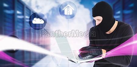 composite image of focused burglar standing