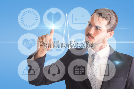 composite image of thoughtful businessman pointing